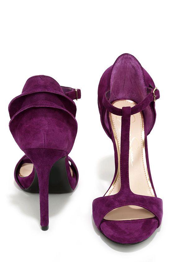 Jessica Simpson Rayanna Wisteria Purple Kid Suede Peep Toe Heels at Lulus.com!