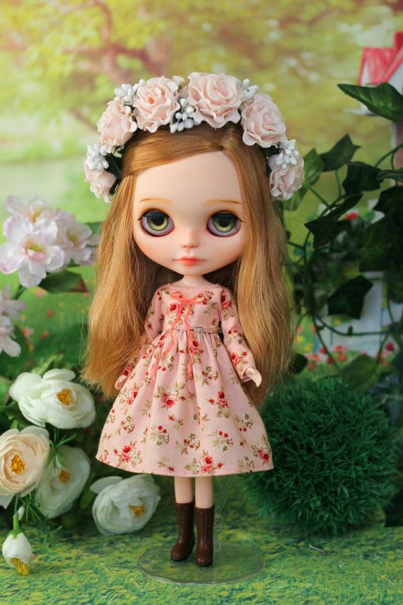 Dress with bow and flower wreath for Blythe / от ElenaShowRoom