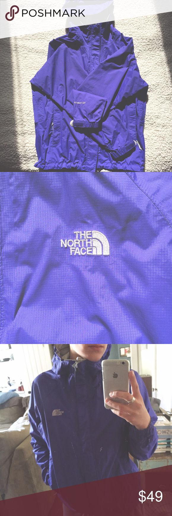 Indigo Northface Windbreaker HyventDT Gently worn, some wear on the inside, brand new from outside! North Face Jackets & Coats Utility Jackets