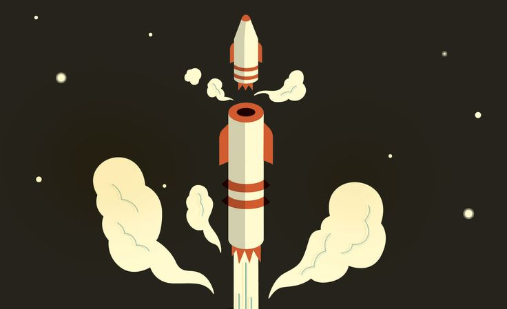 A space rocket as it separates from launcher, Illustration by Harry Campbell