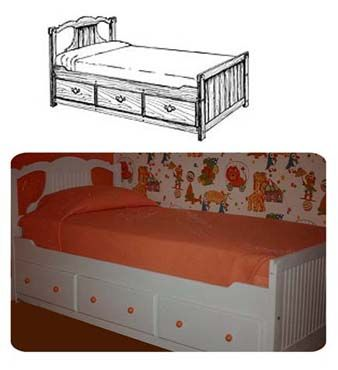 Captain's Bed Plans. Not white, another row of drawers, headboard with shelves