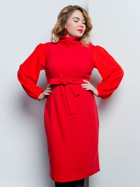 Галатия платье.  Платье из костюмной ткани с высокой горловиной - стойкой. Широкие рукава выполнены из полупрозрачного креп - шифона, собраны в узкий манжет. Юбка платья заужена книзу со шлицей. Пояс сделает платье более нарядным, талию более тонкой. Пояс в комплекте. Красивое, универсальное, нарядное.