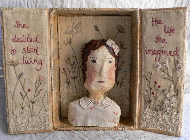 She decided to start living the life she imagined. vintage linens, paper, lace and embroidery box by gentlework