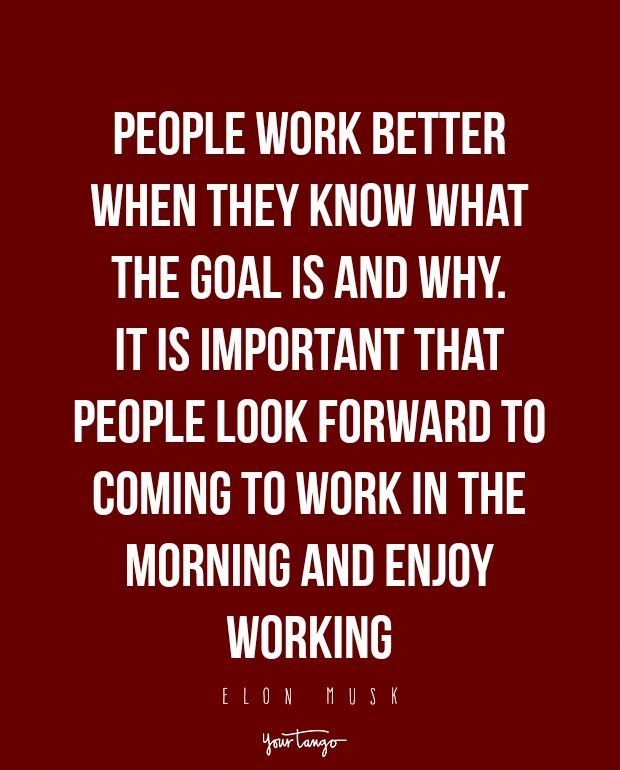 People work better when they know what the goal is and why. It is important that people look forward to coming to work in the mornign and enjoy working.  — Elon Musk