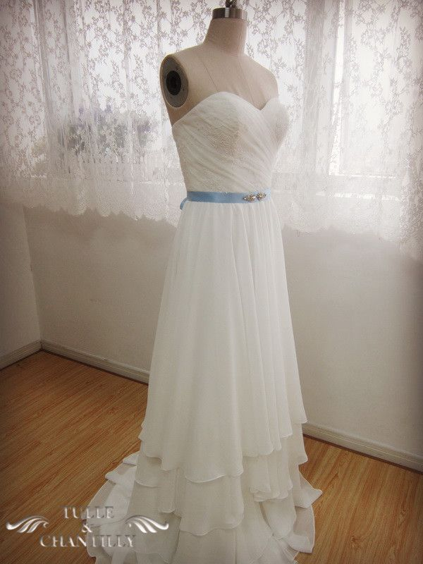 {Design Your Wedding Dress} Custom-Made Elegant Sweetheart Bodice Layered Wedding Dress with Belt