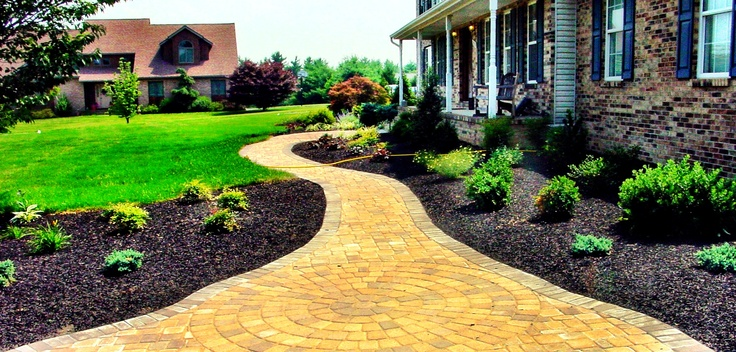 Front yard mulch and walkway outside pinterest for How much to landscape a yard