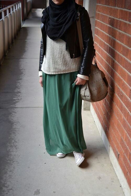 Hijab fashion with Converse sneakers.