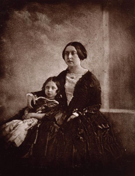 Earliest known photograph of Queen Victoria and her eldest daughter, Victoria, the Princess Royal.