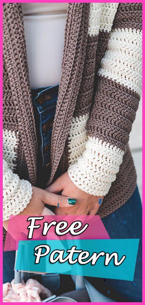 Slouchy Stripe Cardigan Crochet Padrão Livre - YARN OF CROCHET