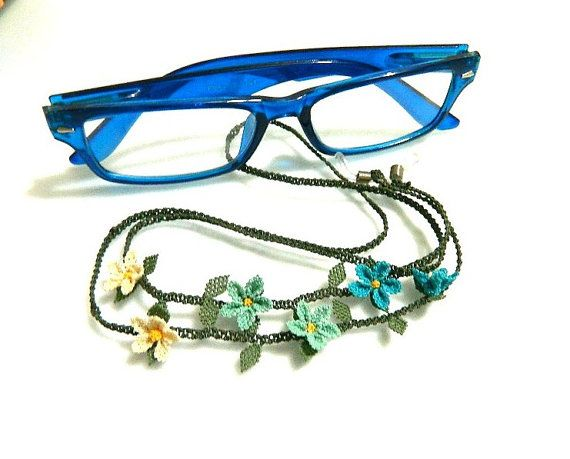 Glasses strap. Blue. 7080 cm. Silk embroidery. by guldemirdinc, $45.00