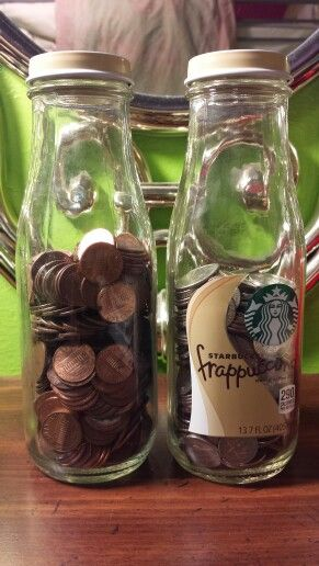 Glass Starbucks Frappuccino bottles good for collecting change!