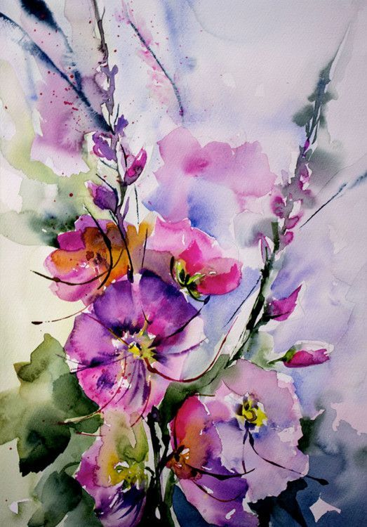 Hollyhocks watercolor - Passerose (Boyama), 26x36 cm Véronique Piaser-Moyen tarafından Aquarelle originale sur papier 300 G