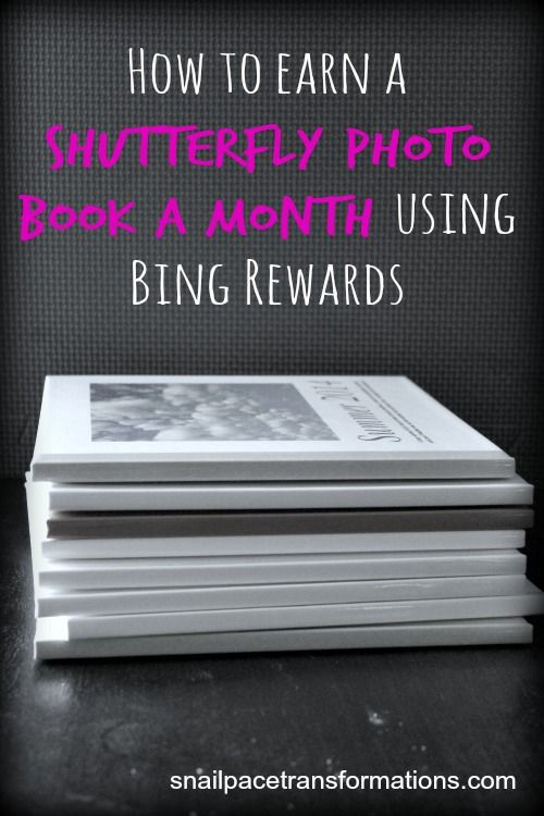 Victoria from Snail Pace Transformations shows you how to earn a free Shutterfly Photo Book every month using Bing Rewards.
