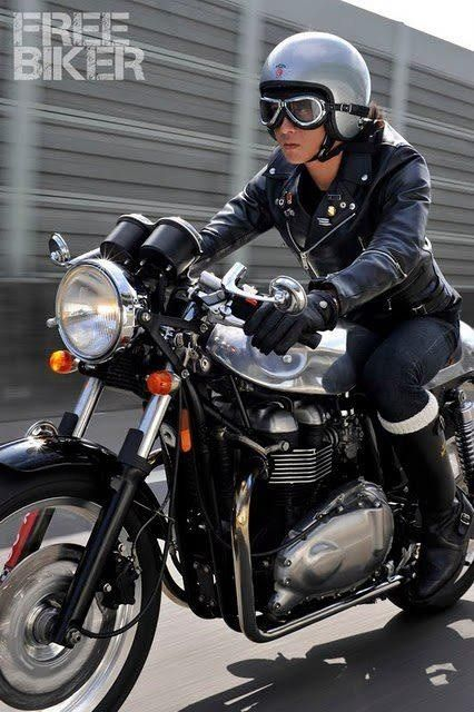 Triumph Cafe Racer - lady rider #riding #motorcycles #motos   caferacerpasion.com