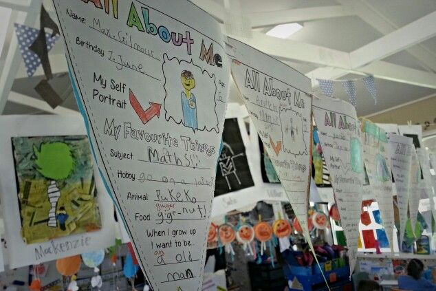 All about me bunting... great way to get to know the kids at the beginning of the year... funny to look back on at the of the year! Template is by another user on pintrest.