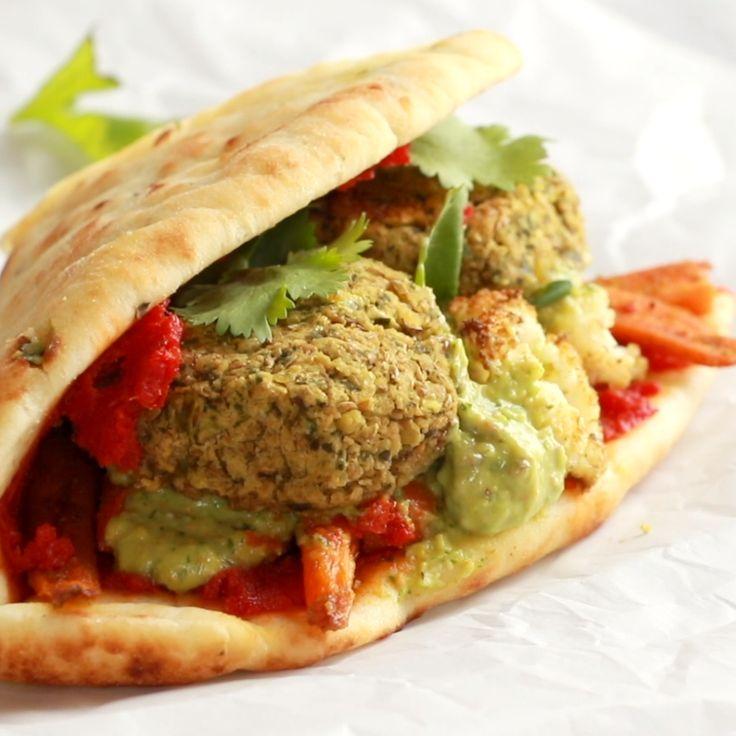 Würzige Falafel und gebratenes Gemüse Naanwich   – Recettes de poulet