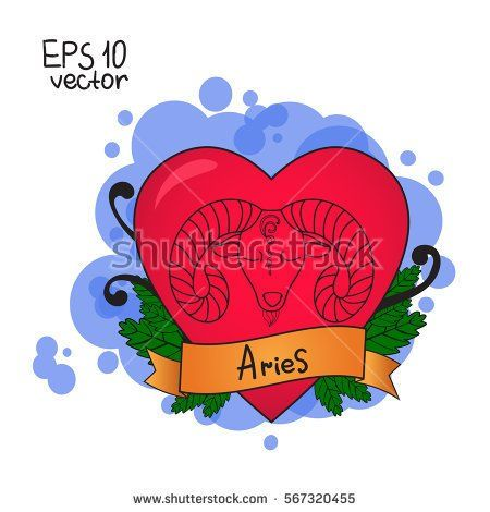 Love horoscope for Valentine's Day. Signs of the zodiac. Aries symbol.  Vector illustration hand drawing. Old school tattoo.