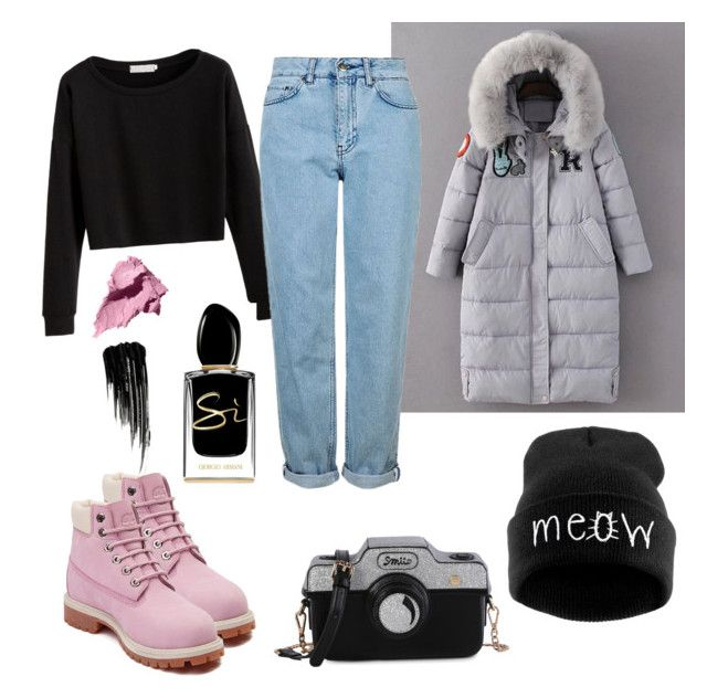 """""""Pink and grey"""" by murka-juna on Polyvore featuring Topshop, Timberland, Bobbi Brown Cosmetics, Urban Decay and Giorgio Armani"""