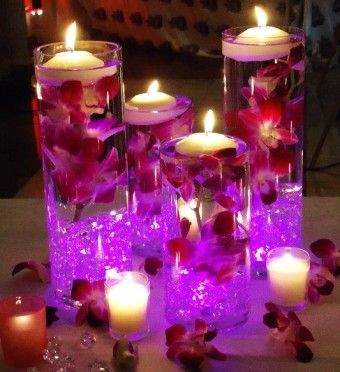 2016 Valentine's day Wedding Purple Flower Candle  Floating Vase - Centerpiece Tall Glass Candle  Holders - LoveItSoMuch.com
