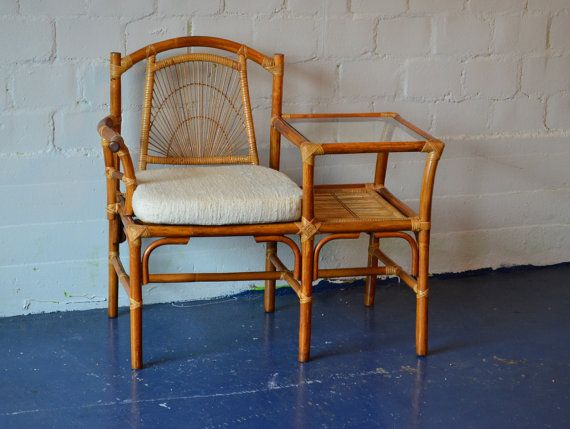 Vintage Bamboo And Rattan Telephone Table And Seat