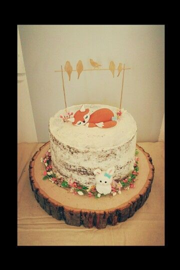 Woodland Fox Cake Woodland Baby Shower In 2019 Baby