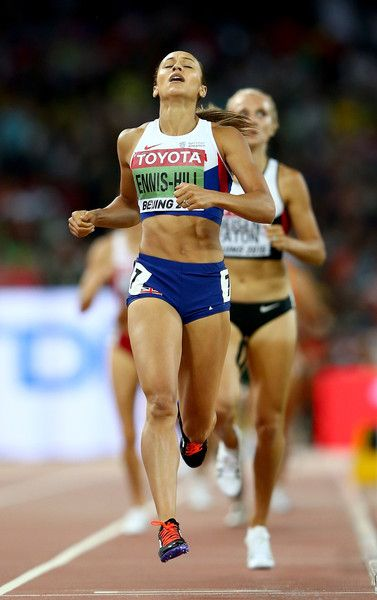 Jessica Ennis-Hill of Great Britain crosses the finish line to win the the Women's Heptathlon 800 metres and the overall Heptathlon gold during day two of the 15th IAAF World Athletics Championships Beijing 2015 at Beijing National Stadium on August 23, 2015 in Beijing, China.