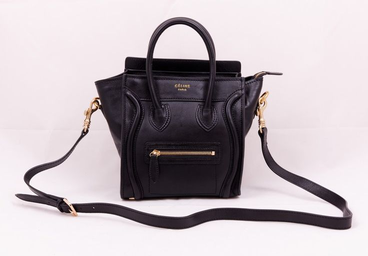 Сумка Celine (Селин) small boston bag из натуральной кожи, черная, небольшая
