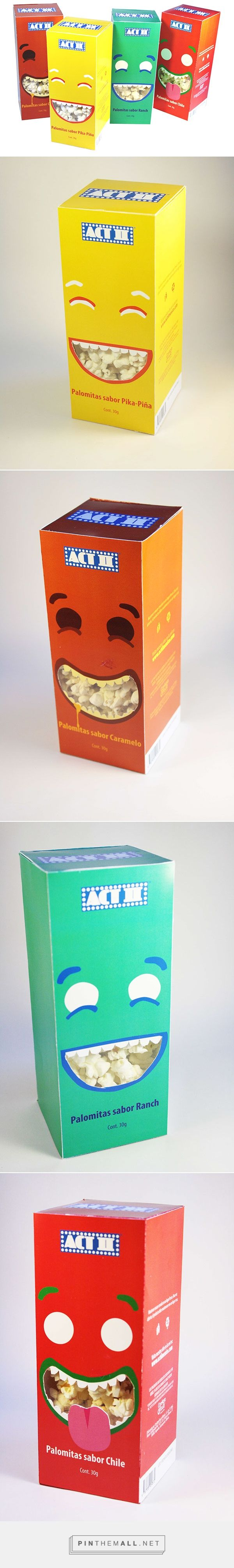 Graphic design and packaging for Kid's Popcorn Packaging on Behance by Paulina Arzillier Queretaro, Mexico curated by Packaging Diva PD. Cute packaging for the smile file : )