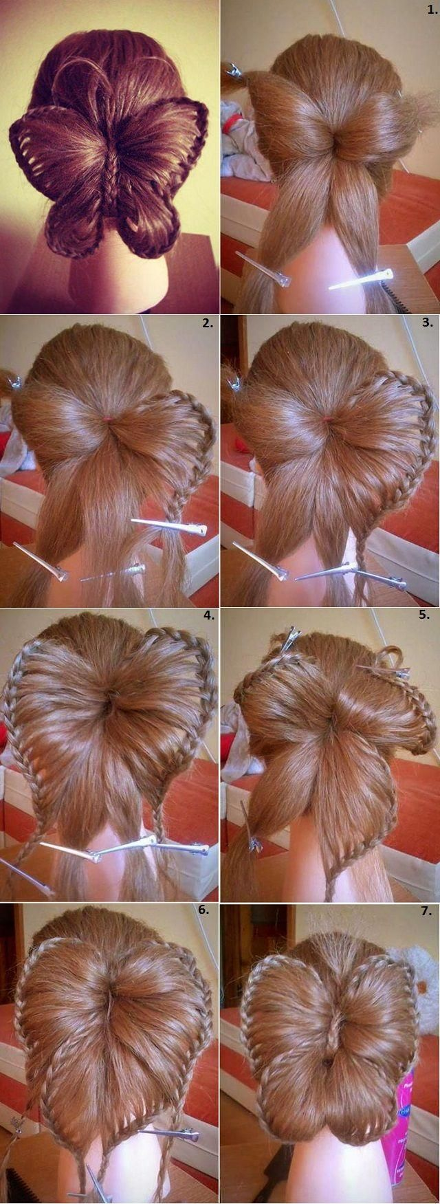 "Butterfly Hairstyle @Mindy Burton Burton Burton Burton Burton ""Cute Girls Hairstyles"" Could you please do a video tutorial for this hairstyle? My sisters are begging for it :) Thank you! Interesting"