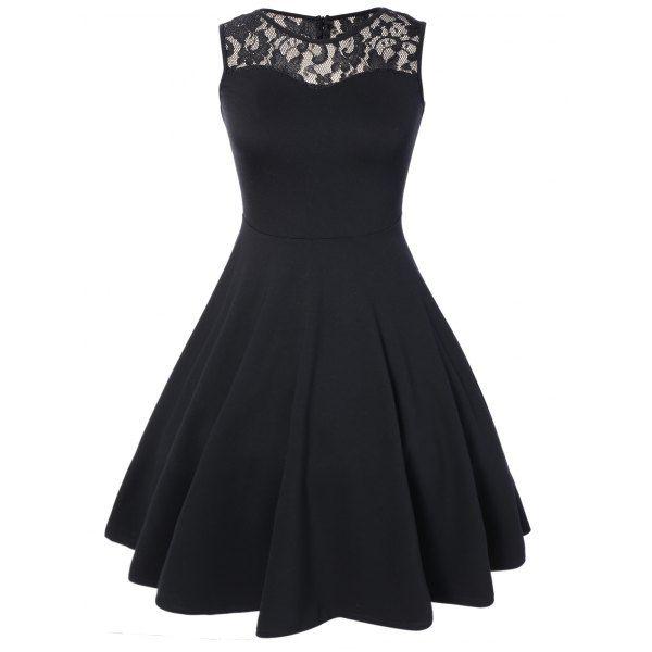 Sleeveless Lace A Line Dress | TwinkleDeals.com