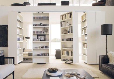 Contemporary modular bookshelves, room dividers
