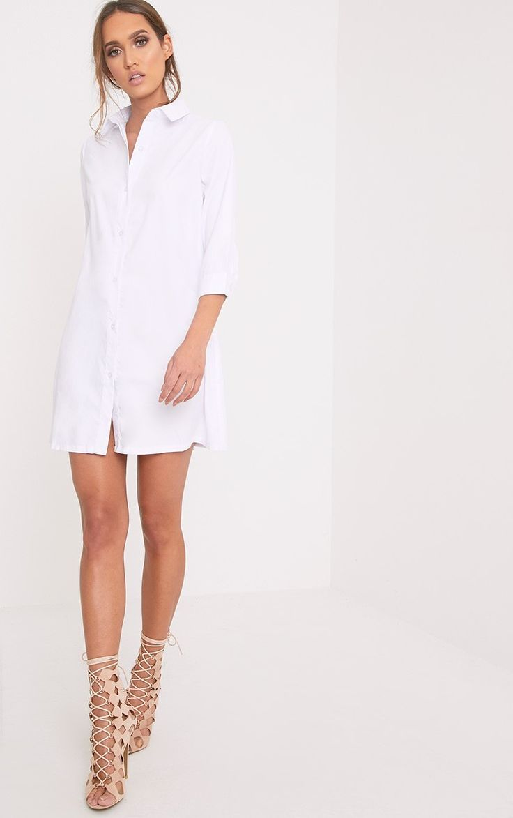 White Shirt Dress Work the tailored look this season in this chic everyday shirt dress. In a lux...
