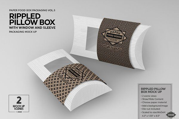 Download Rippled Pillow Box Packaging Mockup Pillow Box Packaging Mockup Free Packaging Mockup