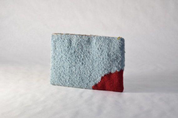 mélange de laine mohair bouclé tissé à la main d'embrayage rouge et bleu pochette textile en tapisserie