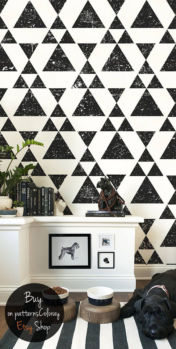 Grunge Triangle Removable Wallpaper Modern Design Black Etsy In 2021 Removable Wallpaper Home Decor Room Wallpaper