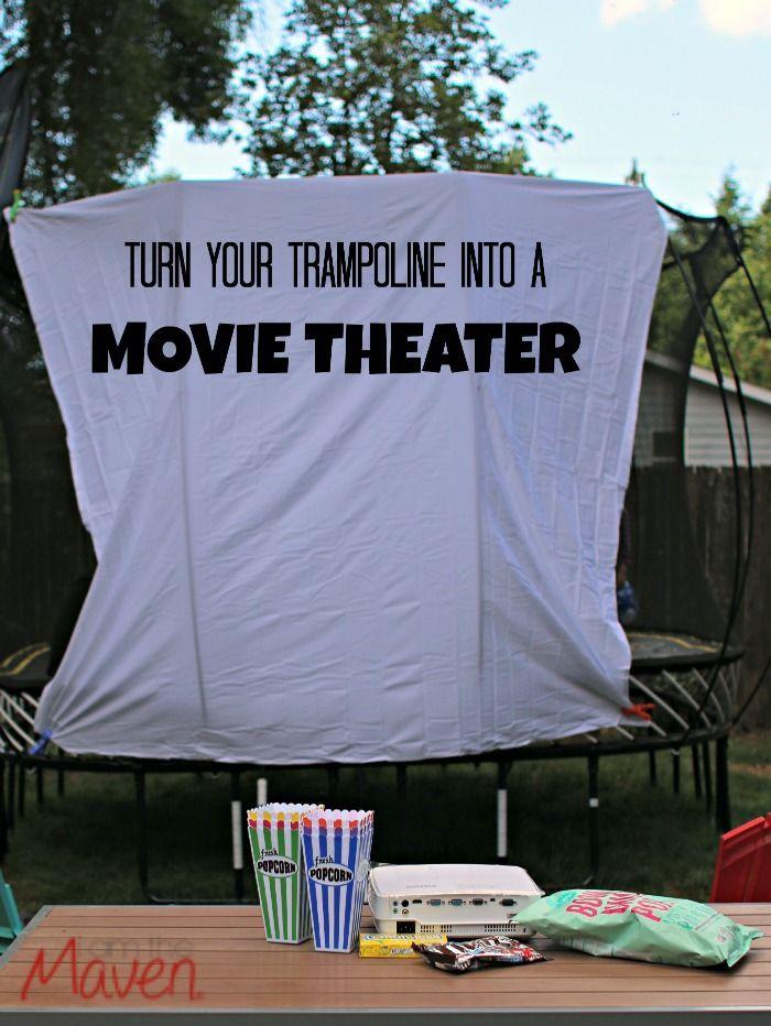 Turn your trampoline into a backyard movie theater #SpringFreeFamily #Sponsored