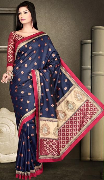 Blue Art Dhupion and Brocade Silk Saree With Unstitched Blouse