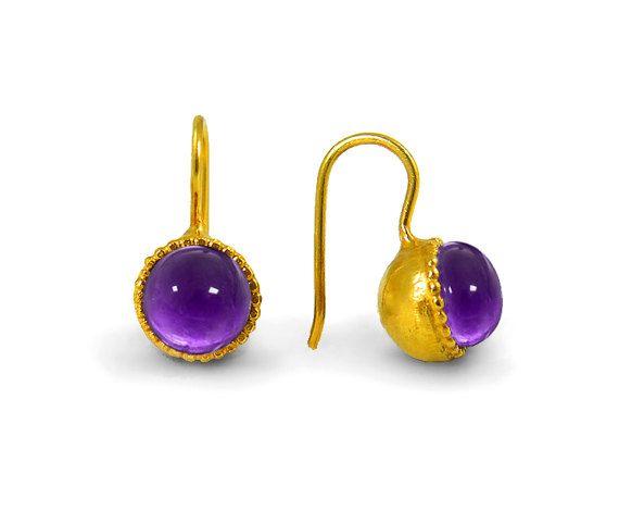 Amethyst Earrings Gemstone Earrings purple by ChenFuchsJewelry
