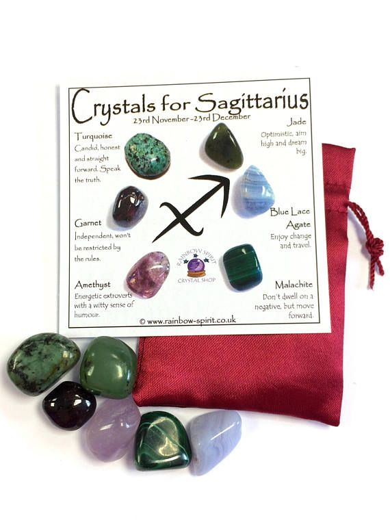 A set of birthstone crystals (Turquoise, Garnet, Amethyst, Jade, Blue Lace Agate and Malachite) for the Zodiac star sign Sagittarius, 23 November - 21 December. The set includes the six 10-20mm stones and a pouch, and comes as a set with a mini printed copy of the poster with