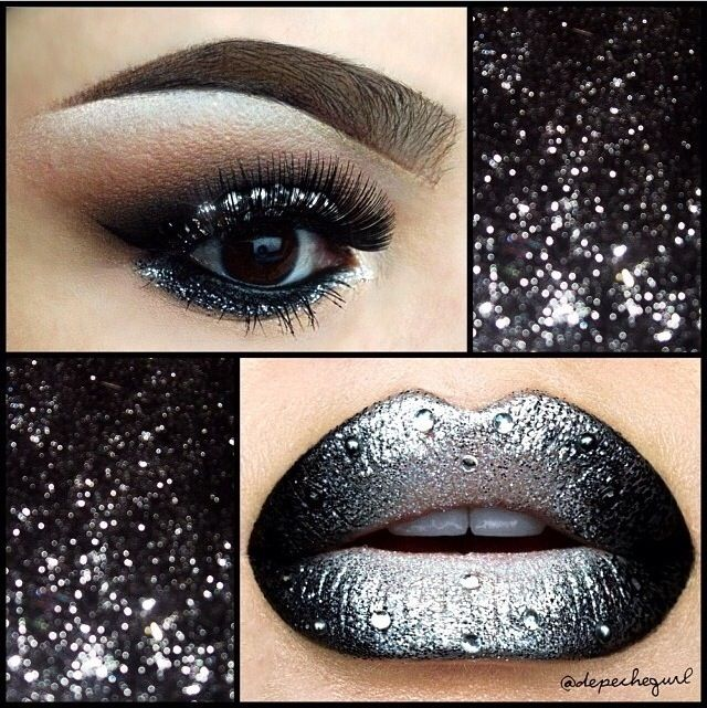 Silver And Black Glitter Lipstick Makeup Pinterest Black Glitter And Glitter Lipstick