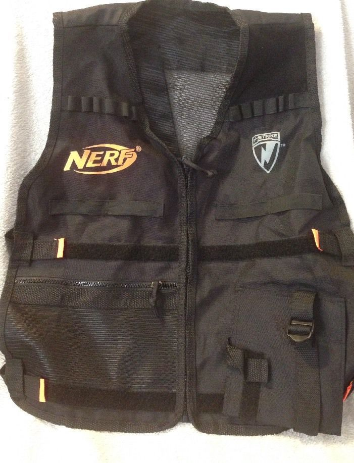 Nerf Tactical Vest Black Neon Orange N Strike Gear Accessory Adjustable Zip | eBay