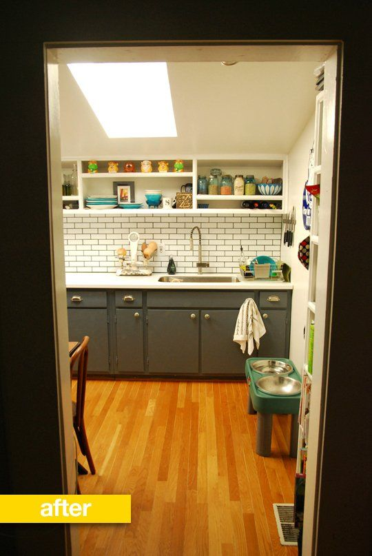 gray painted cabinets Kitchen Before & After: Stephanie's Low Budget Kitchen Remodel