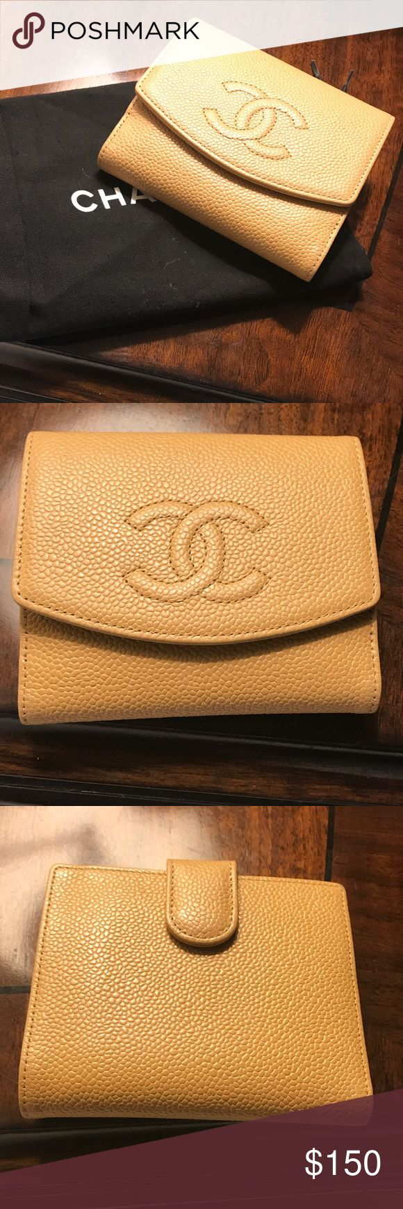 "Chanel Small Wallet Beige Caviar Leather AUTHENTIC Very good condition esp. exterior.Wear inside coin purse & card slots.Very small ink mark on inside edge.I did not keep the authenticity card or box.Chanel hologram & serial number (10373784) inside bill fold.Caviar Leather ""Timeless"" compact wallet;gold-tone hardware,embroidered interlocking CC at front, tonal leather & woven lining,single change compartment at front featuring snap closure,single bill compartment at interior walls,8 card…"