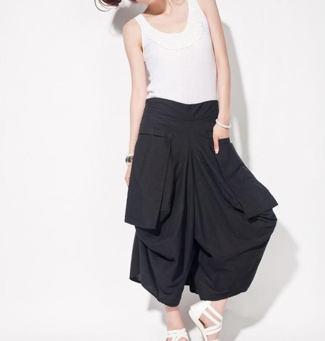 linen asymmetric divided skirts ++ ma lieb