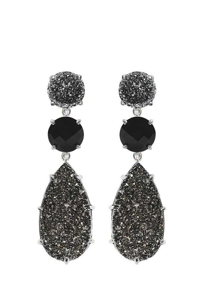 Jewelry Trend: Shining Night (Anzie's silver, gunmetal drusy and black onyx earrings.)