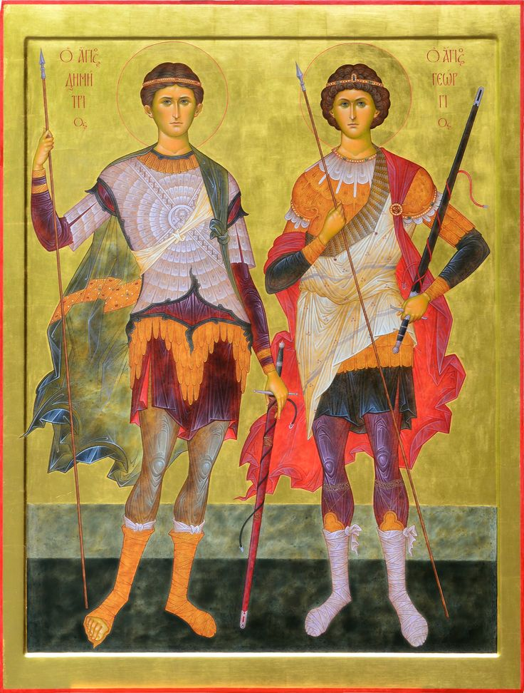 "St. Dimitry & st.George. 2015. Wood, gesso, tempera, gilding. 39"" x 29"". St.Mark of Ephesus cathedral in Boston (USA)."