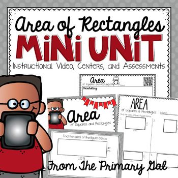 This mini unit is designed to be everything you will need to teach students how to find the area of a rectangle using the standard formula Area = Length x Width.  Instructional Math VideoIn my classroom, I implement a Flipped Classroom, meaning my students watch a math video for homework each night.