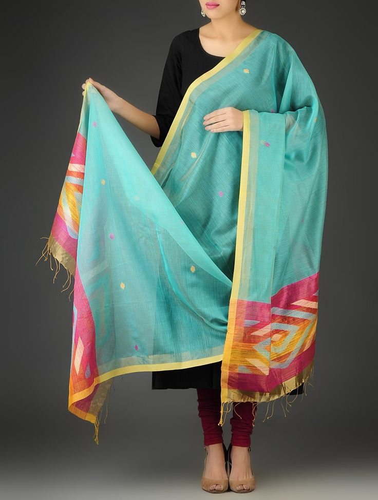 Turquoise-Multi-Color Handwoven Jamdani Silk-Cotton Dupatta