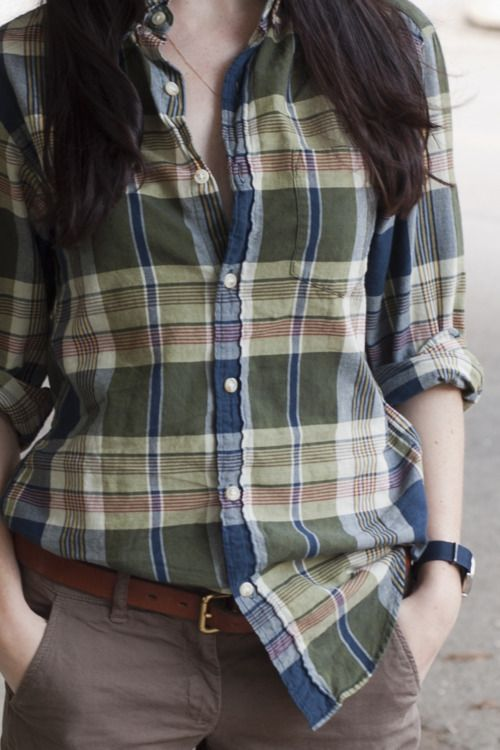 simple spring / summer look: madras shirt, chinos, and basic accessories looking amazing on a woman.