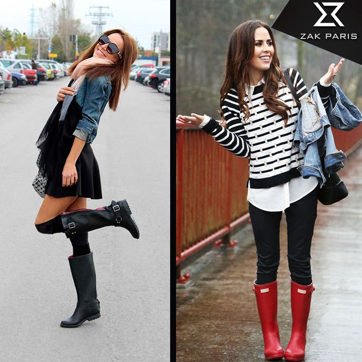 ¿Cómo combinar tus botas de lluvia?  • Combínalas con faldas: Combinar tus faldas con unas botas de lluvia te harán ver elegante y con mucho estilo al mismo tiempo.  • Con tus jeans favoritos: Agrega un poco de actitud ante los días nublados y te verás increíble.  • No huyas del negro: Las botas de lluvia negras se convertirán en uno de tus básicos, ya que puedes llevarlas con casi todo tu guardarropa. Combina colores y juega con ellos, el toque especial lo darán tus botas.